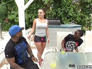 liza del sierra seducing two black guys and begging for big cock in their way ass
