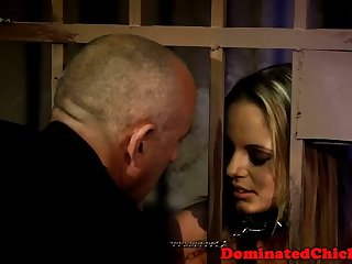 caged sub beauty hardfucked from behind