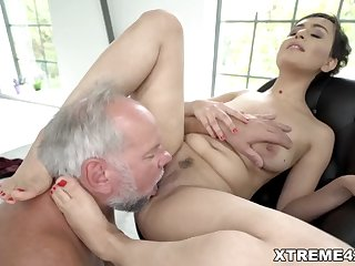 fresh pussy filled with grandpa dick