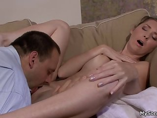 old man licks her clit before cheating sex
