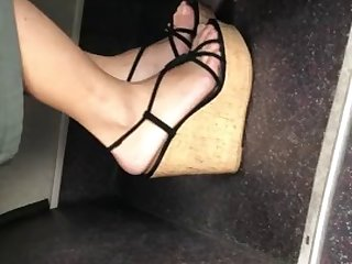 asia sexy feet in wedges high heel shoes